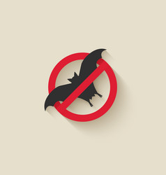 bat silhouette animal pest icon stop sign vector image