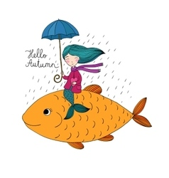Beautiful little mermaid under an umbrella vector image