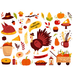 Big set thanksgiving symbols turkey pie vector