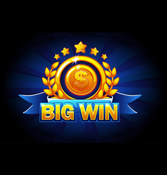 big win banner with blue ribbon and text vector image