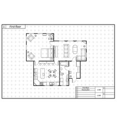 Black architecture plan of house in blueprint vector