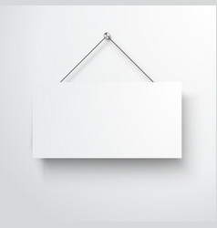 blank white hanging empty mockup sign vector image