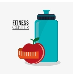 Bottle and apple and fitness design vector