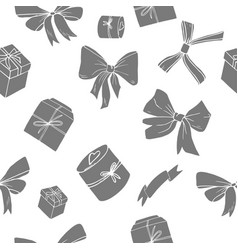 bows and giftboxes seamless pattern vector image