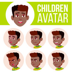 boy avatar set kid black afro american vector image