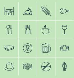 Cafe icons set collection of silverware fresh vector
