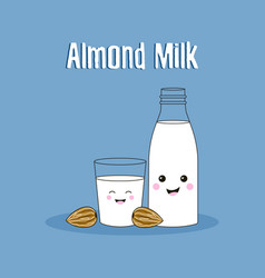 Cartoon almond milk vector