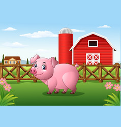 Cartoon pig in the farm background vector