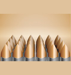 cartridges with copper bullets stand in straight vector image