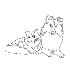 Cat and dog line art 07 vector