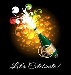 champagne bottle explosion celebration poster vector image