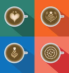 Coffee latte art pattern on colorful background vector