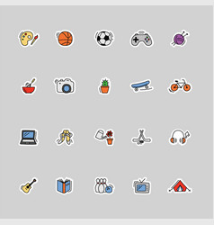 Collection kids hobbies icons vector