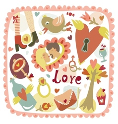 Colorful cartoon romantic love background vector image vector image