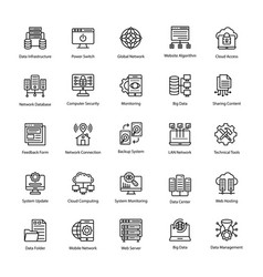 Computer and networks line icons vector