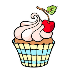 cute cupcake with cherry isolated on white color vector image