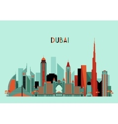 Dubai City Skyline Silhouette Flat Design Trendy vector image