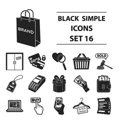E-commerce set icons in black style big vector