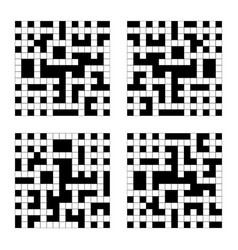 empty crossword grid set isolated on a white vector image