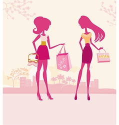 Fashion girls silhouettes on Shopping in the city vector