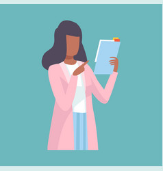 Female doctor holding clipboard and giving advice vector