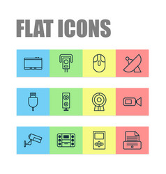 Gadget icons set collection of cctv broadcast vector