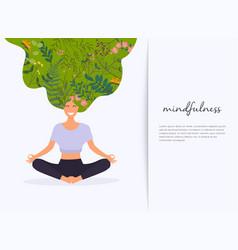 Girl with flower hair in gyan mudra yoga lotus vector