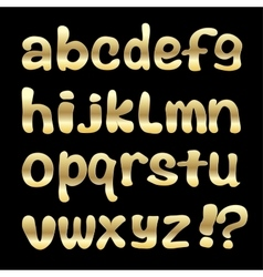 Gold English alphabet on a black background vector image