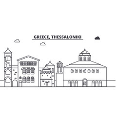 Greece thessaloniki line skyline vector