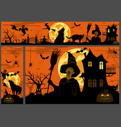 halloween background and banners vector image