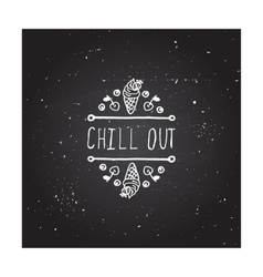 Hand-sketched typographic element with ice cream vector