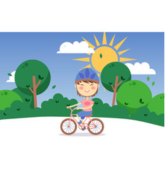 happy child riding bicycle outdoor cartoon vector image