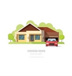 Home facade contemporary modern American house vector
