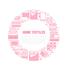 home textiles circle template with flat line icons vector image