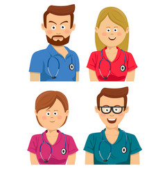 hospital workers in multicolored scrubs vector image