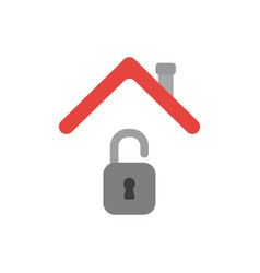 icon concept of opened padlock under house roof vector image