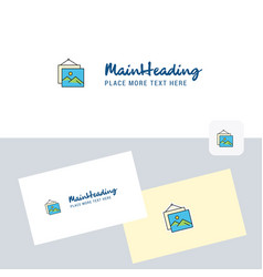 image frame logotype with business card template vector image