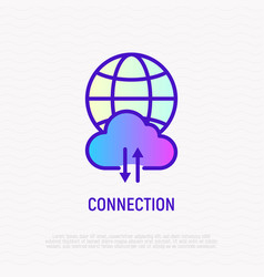 internet connection globe with cloud and arrows vector image