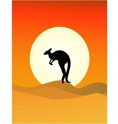 Kangaroo sunset vector