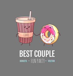 kawaii funny donut and a cup coffee vector image