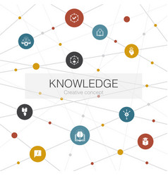 Knowledge trendy web template with simple icons vector