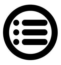 List icon black color in circle vector