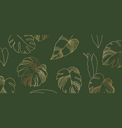 luxury floral background golden monstera leaves vector image