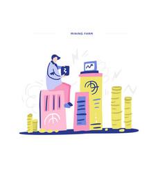 Man mining bitcoins vector