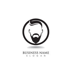 masculine beard black hair geek logo and symbol vector image