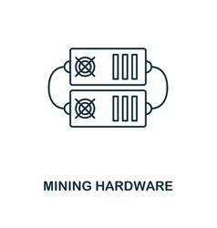 Mining hardware outline icon monochrome style vector