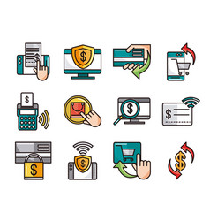 mobile banking shopping or payment market online vector image