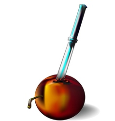 Nectarine and knife vector