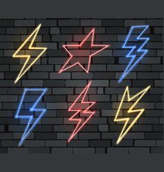 neon electrical lightning sign set vector image