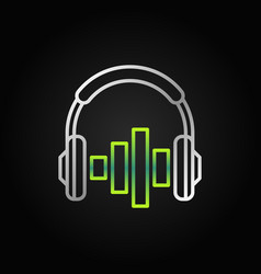 on ear silver headphones with green equalizer vector image